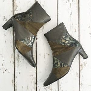 Monzo & Franco Leather Suede Booties Olive 10W EUC